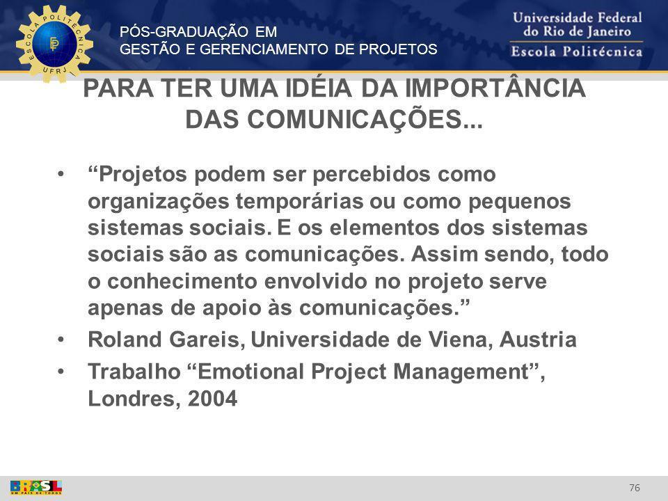 PARA TER UMA IDÉIA DA IMPORTÂNCIA DAS COMUNICAÇÕES...