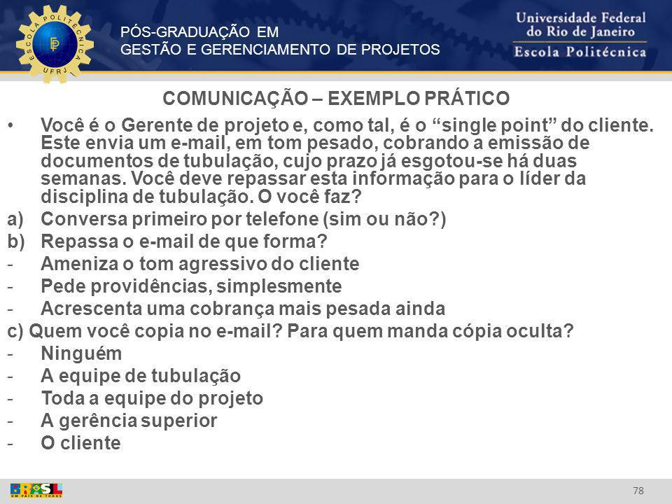 COMUNICAÇÃO – EXEMPLO PRÁTICO