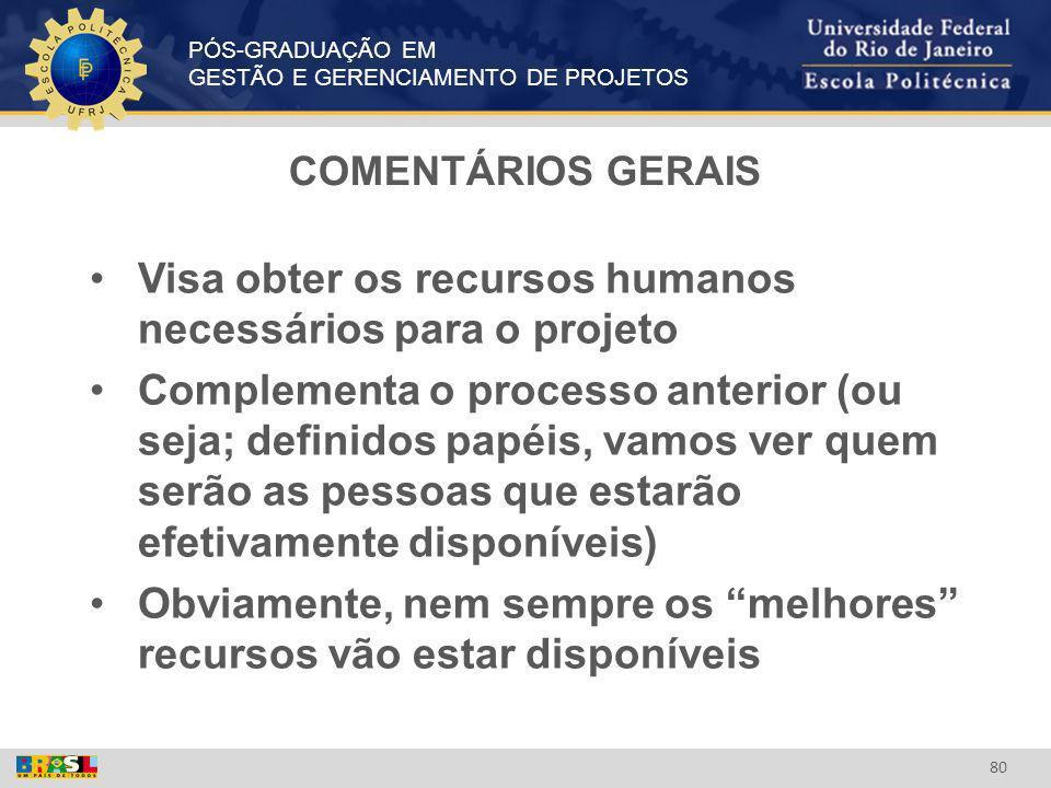Visa obter os recursos humanos necessários para o projeto