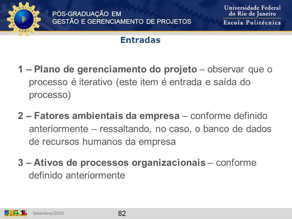 Entradas 1 – Plano de gerenciamento do projeto – observar que o processo é iterativo (este item é entrada e saída do processo)