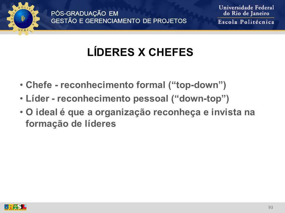 LÍDERES X CHEFES Chefe - reconhecimento formal ( top-down )