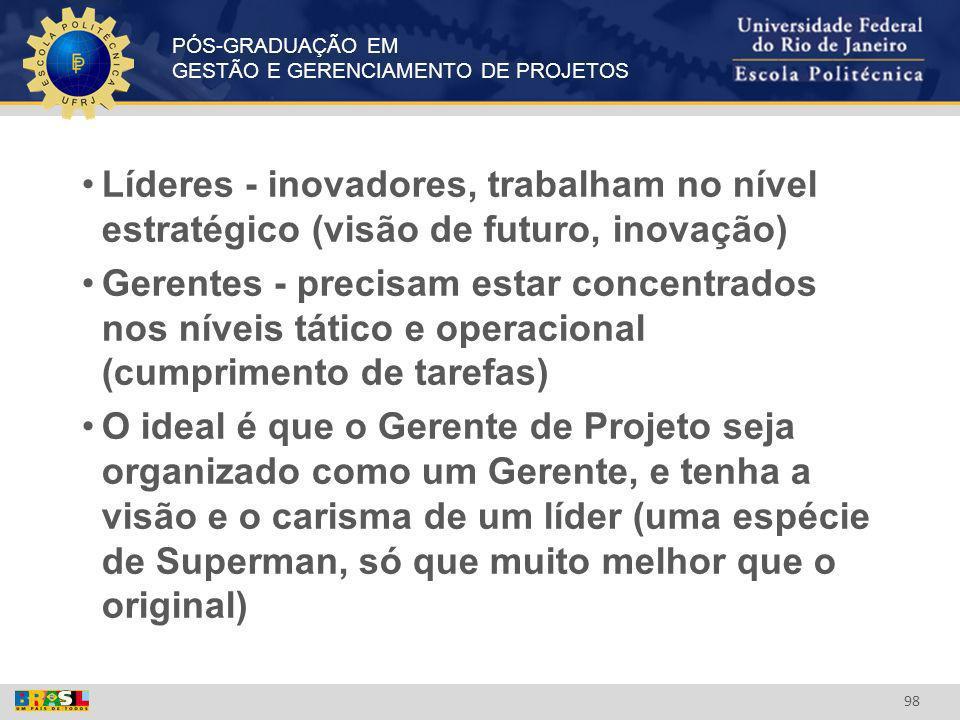 Líderes - inovadores, trabalham no nível estratégico (visão de futuro, inovação)