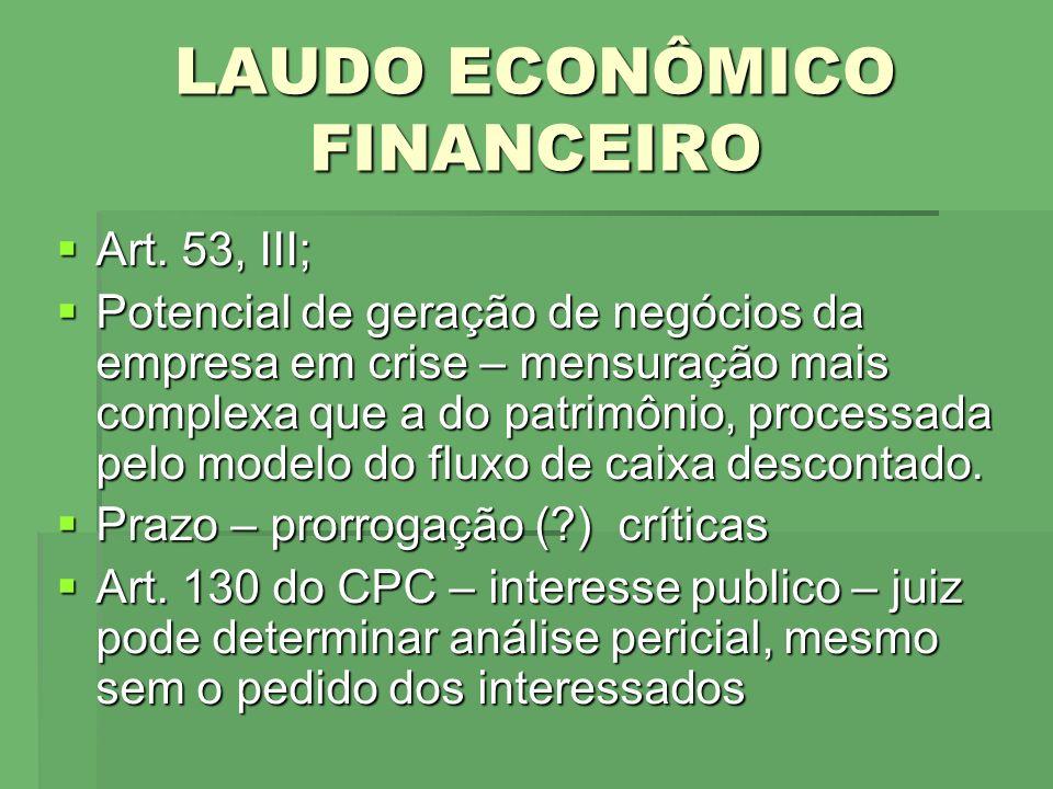 LAUDO ECONÔMICO FINANCEIRO