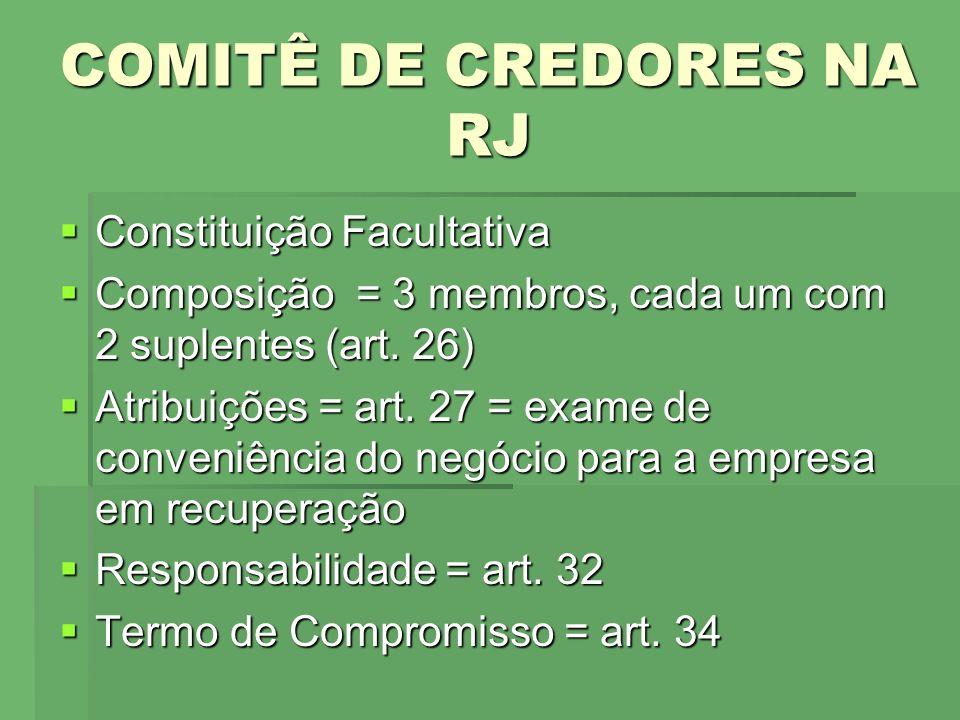 COMITÊ DE CREDORES NA RJ