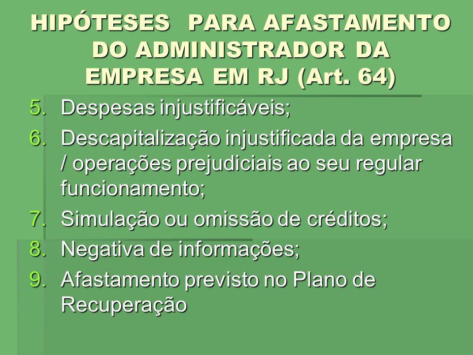 HIPÓTESES PARA AFASTAMENTO DO ADMINISTRADOR DA EMPRESA EM RJ (Art. 64)