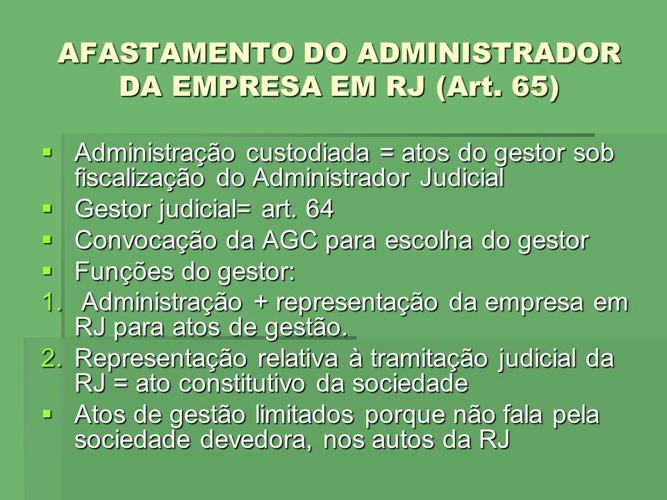 AFASTAMENTO DO ADMINISTRADOR DA EMPRESA EM RJ (Art. 65)