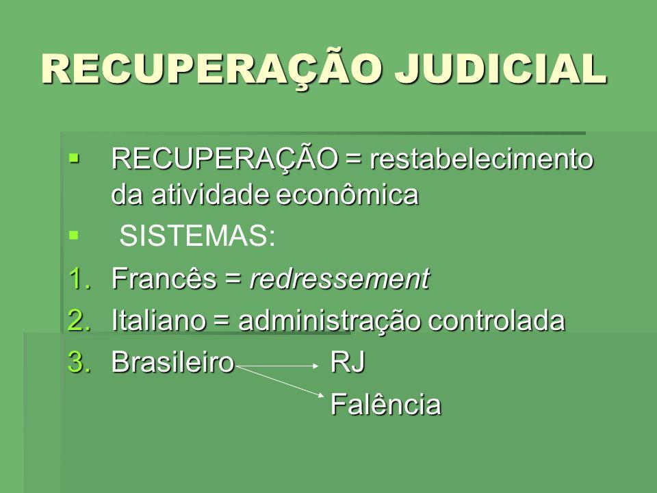 RECUPERAÇÃO JUDICIAL RECUPERAÇÃO = restabelecimento da atividade econômica. SISTEMAS: Francês = redressement.