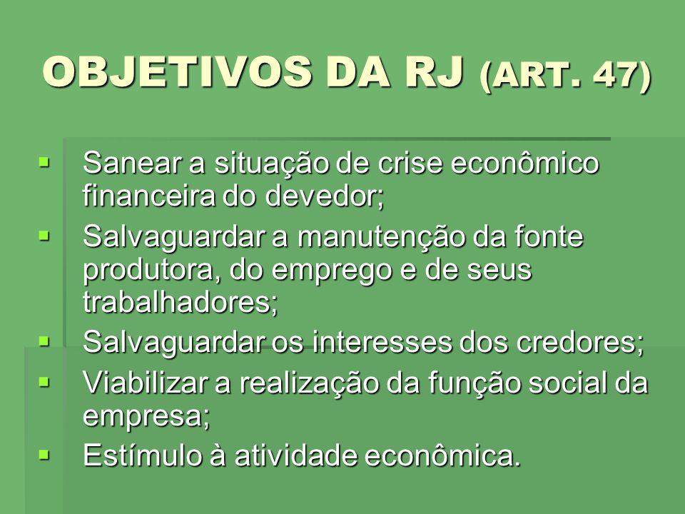 OBJETIVOS DA RJ (ART. 47) Sanear a situação de crise econômico financeira do devedor;