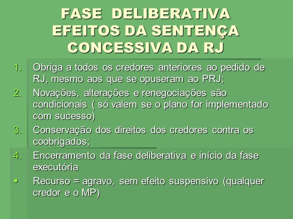 FASE DELIBERATIVA EFEITOS DA SENTENÇA CONCESSIVA DA RJ
