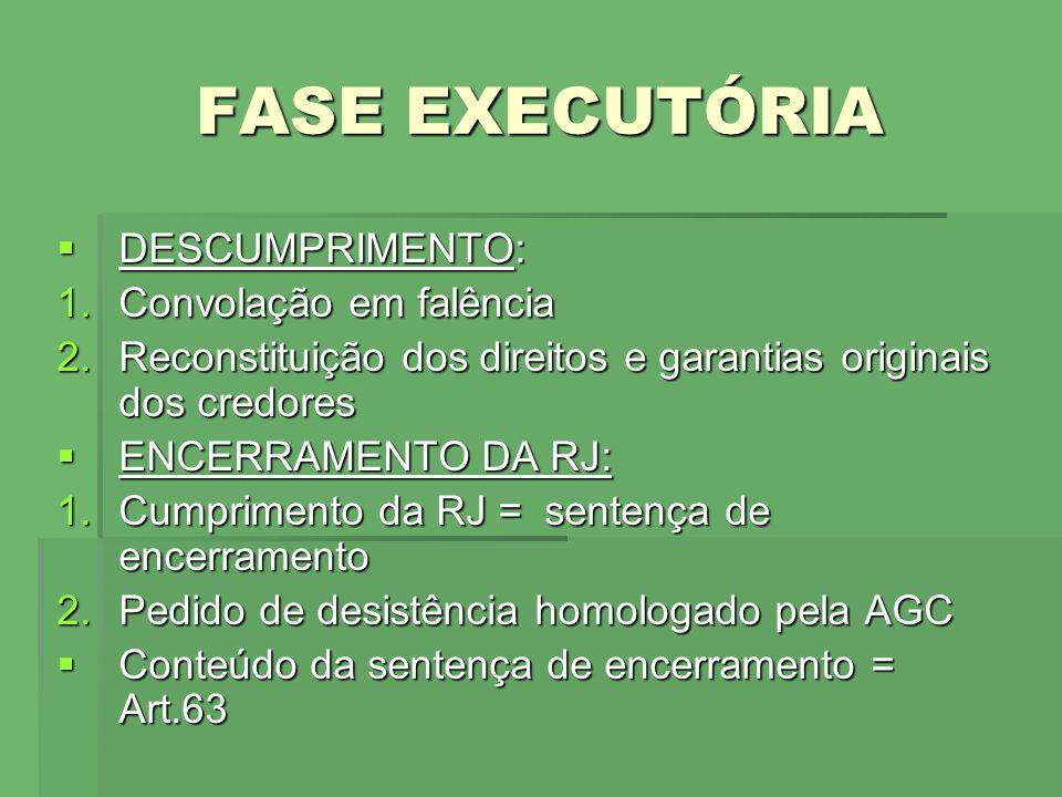 FASE EXECUTÓRIA DESCUMPRIMENTO: Convolação em falência