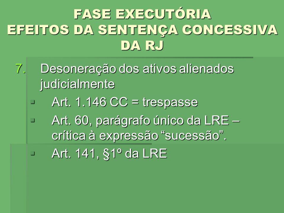 FASE EXECUTÓRIA EFEITOS DA SENTENÇA CONCESSIVA DA RJ