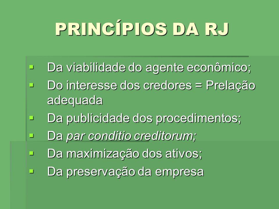 PRINCÍPIOS DA RJ Da viabilidade do agente econômico;