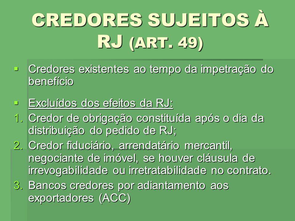 CREDORES SUJEITOS À RJ (ART. 49)