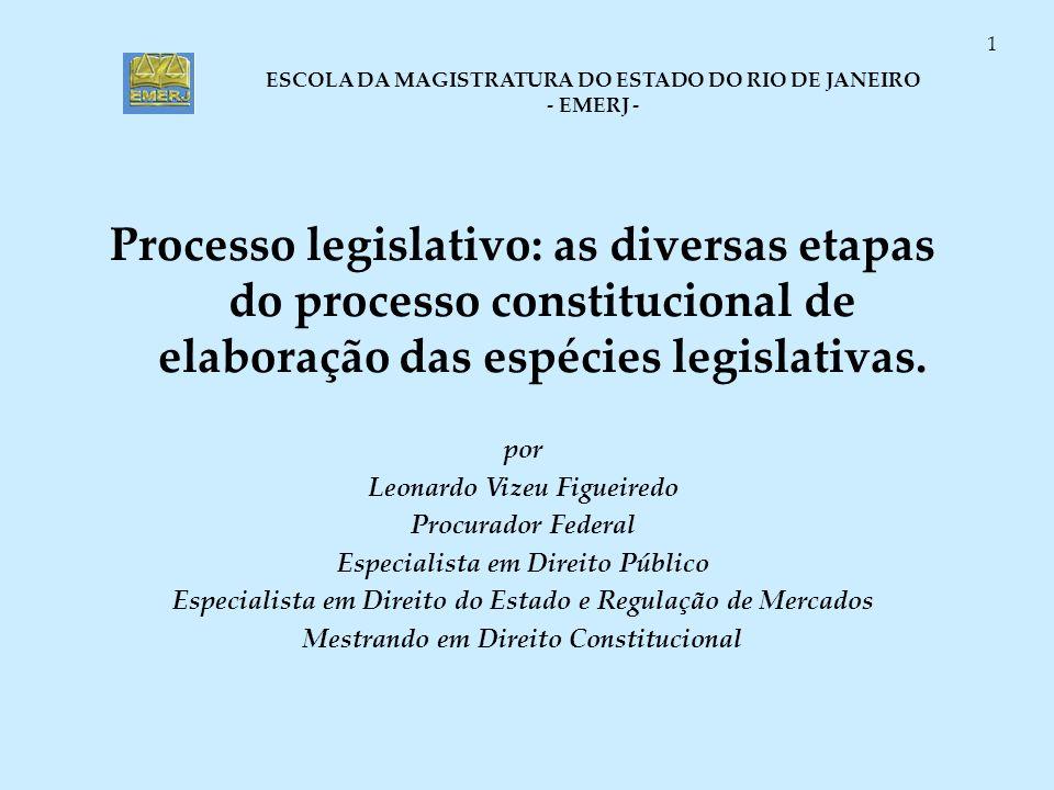 Processo legislativo: as diversas etapas do processo constitucional de elaboração das espécies legislativas.