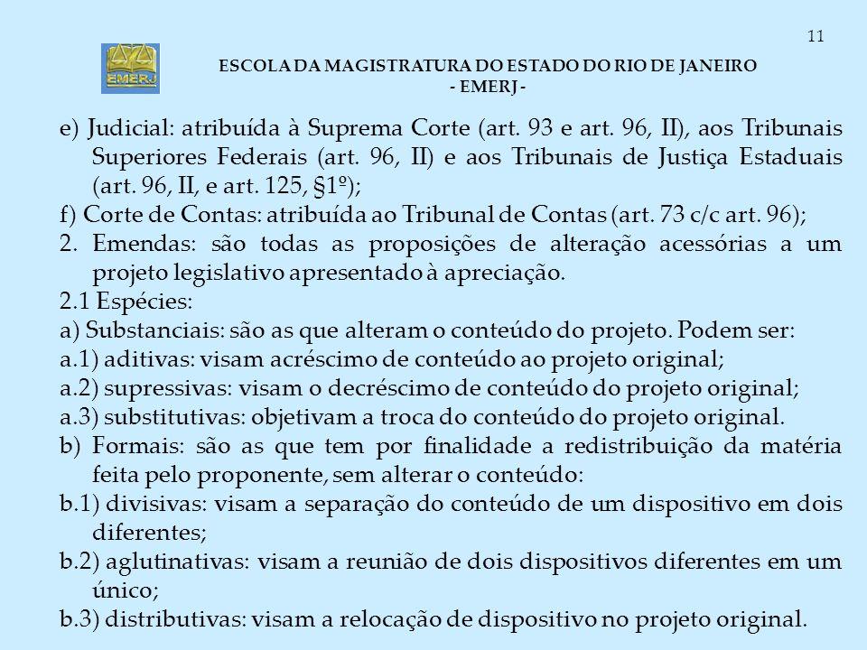 e) Judicial: atribuída à Suprema Corte (art. 93 e art