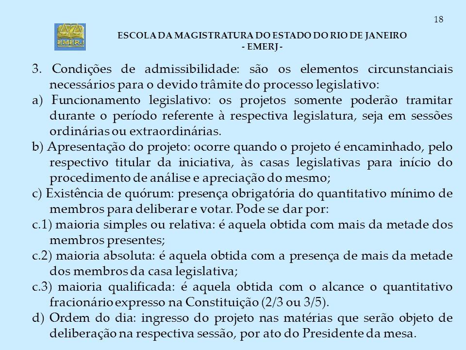 3. Condições de admissibilidade: são os elementos circunstanciais necessários para o devido trâmite do processo legislativo: