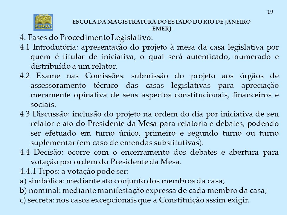 4. Fases do Procedimento Legislativo: