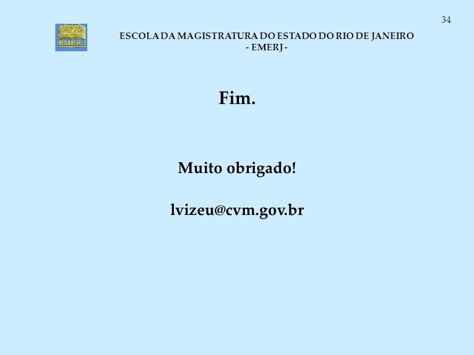 Fim. Muito obrigado! lvizeu@cvm.gov.br