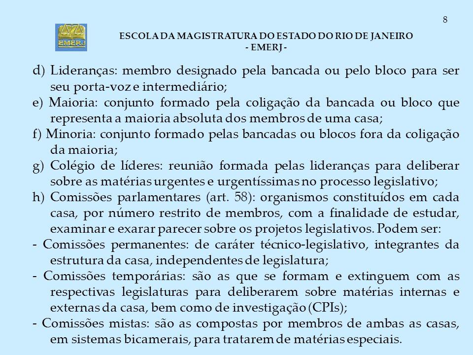 d) Lideranças: membro designado pela bancada ou pelo bloco para ser seu porta-voz e intermediário;