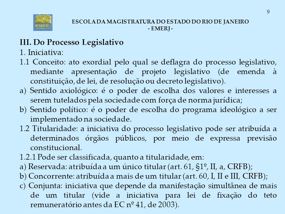 III. Do Processo Legislativo 1. Iniciativa: