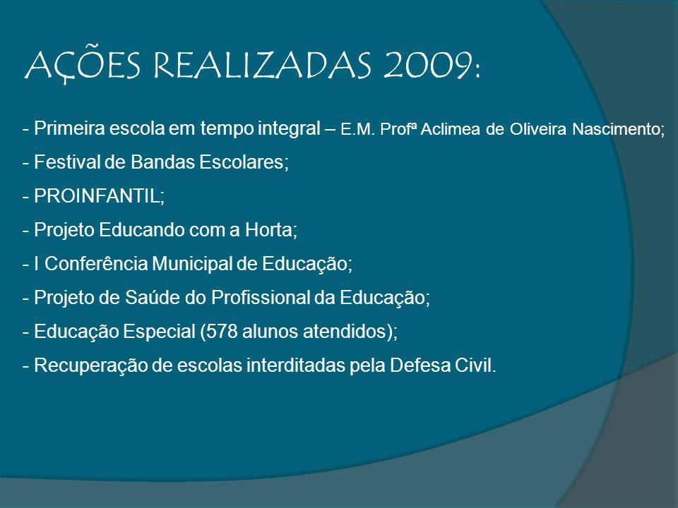 AÇÕES REALIZADAS 2009:Primeira escola em tempo integral – E.M. Profª Aclimea de Oliveira Nascimento;