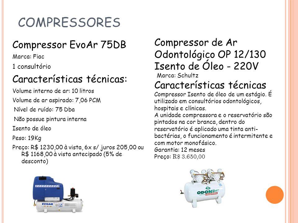 COMPRESSORES Compressor de Ar Odontológico OP 12/130 Isento de Óleo - 220V. Marca: Schultz.