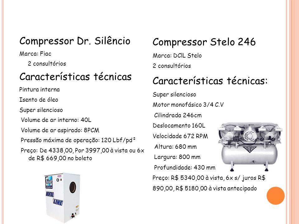 Características técnicas: Compressor Dr. Silêncio