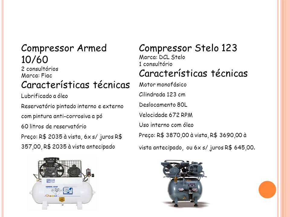 Características técnicas Compressor Stelo 123 Características técnicas