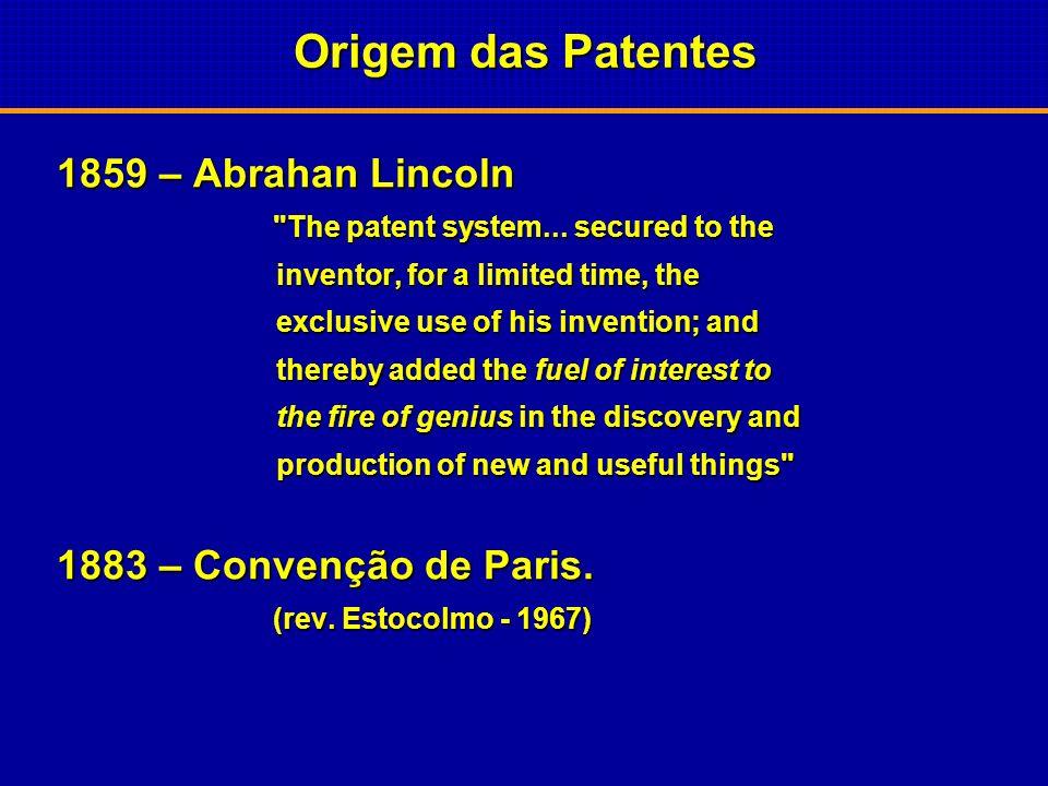 Origem das Patentes 1859 – Abrahan Lincoln 1883 – Convenção de Paris.