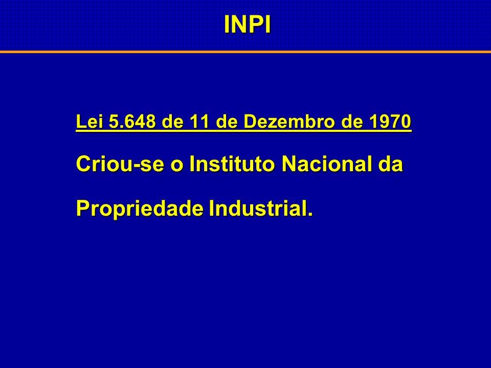 INPI Propriedade Industrial. Lei 5.648 de 11 de Dezembro de 1970