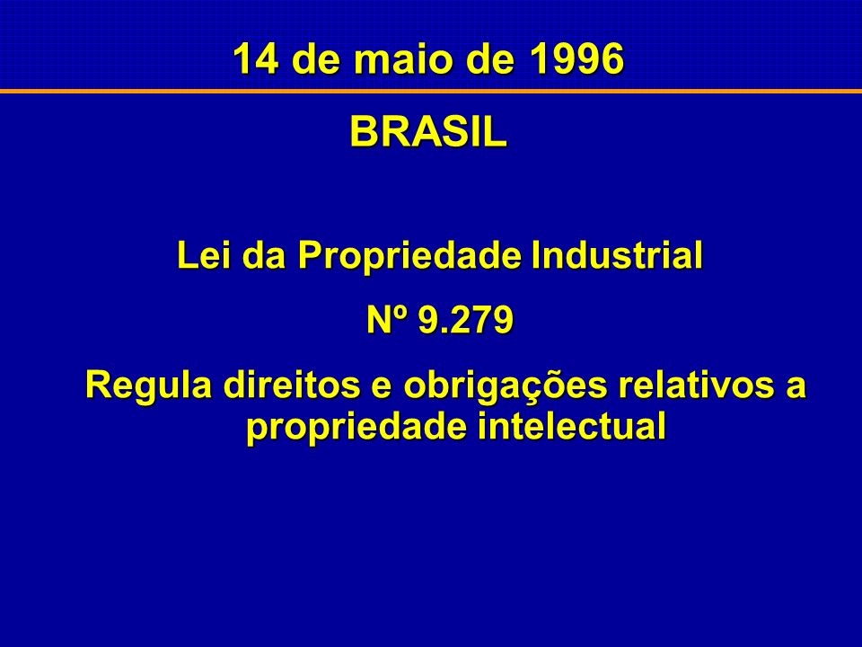 14 de maio de 1996 BRASIL Lei da Propriedade Industrial Nº 9.279