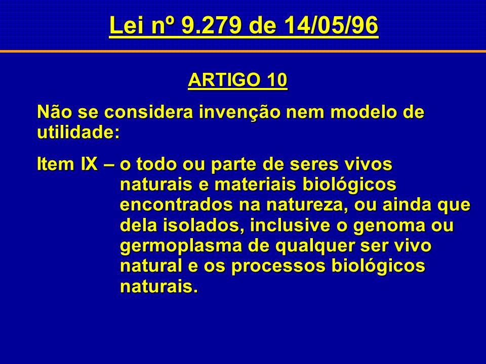 Lei nº 9.279 de 14/05/96 ARTIGO 10. Não se considera invenção nem modelo de utilidade: