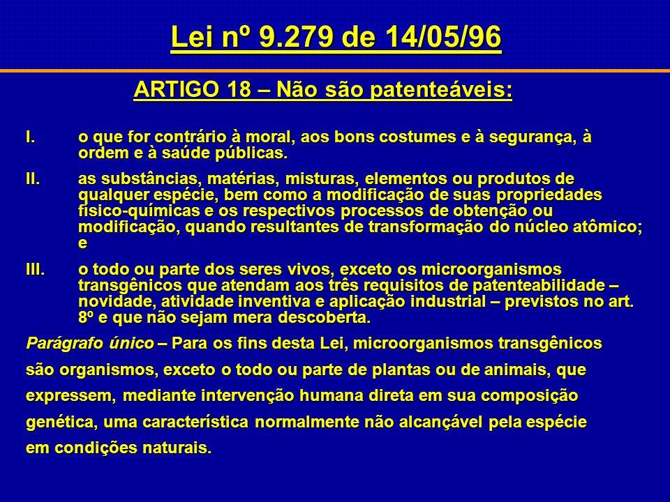 ARTIGO 18 – Não são patenteáveis: