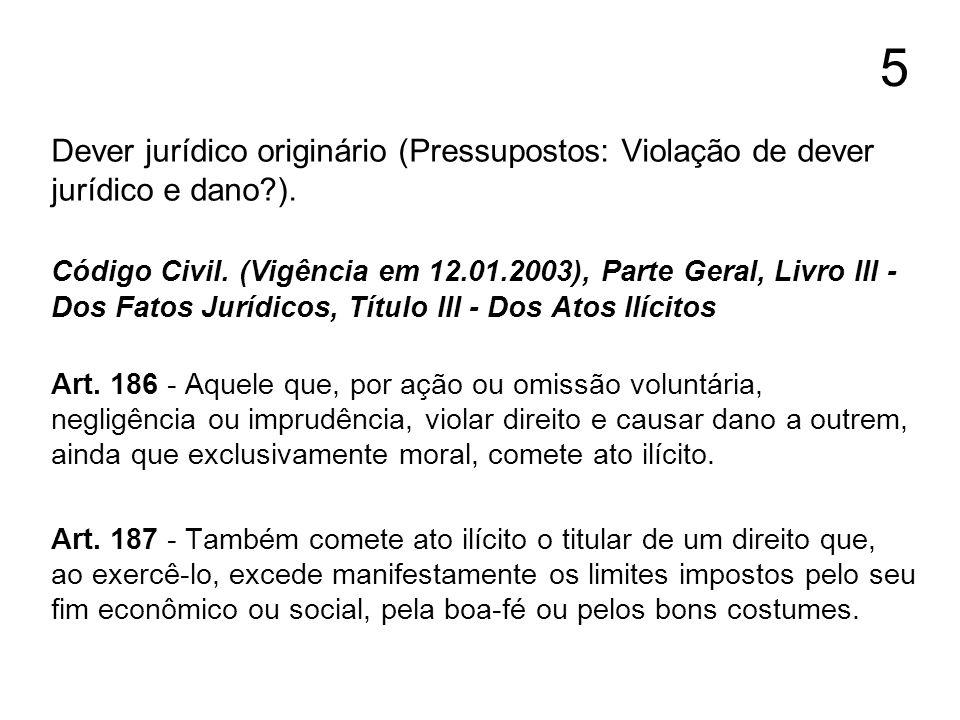 5 Dever jurídico originário (Pressupostos: Violação de dever jurídico e dano ).