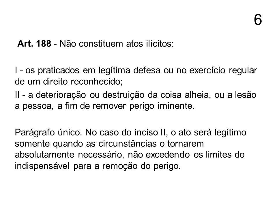 6 Art. 188 - Não constituem atos ilícitos: