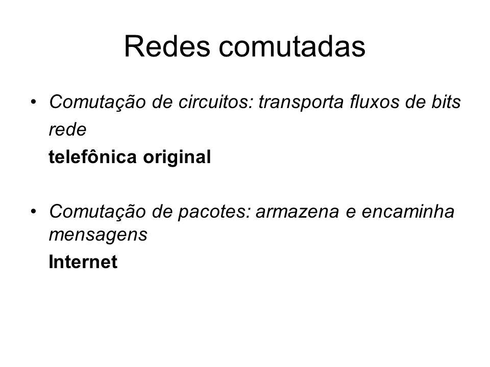 Redes comutadas Comutação de circuitos: transporta fluxos de bits rede