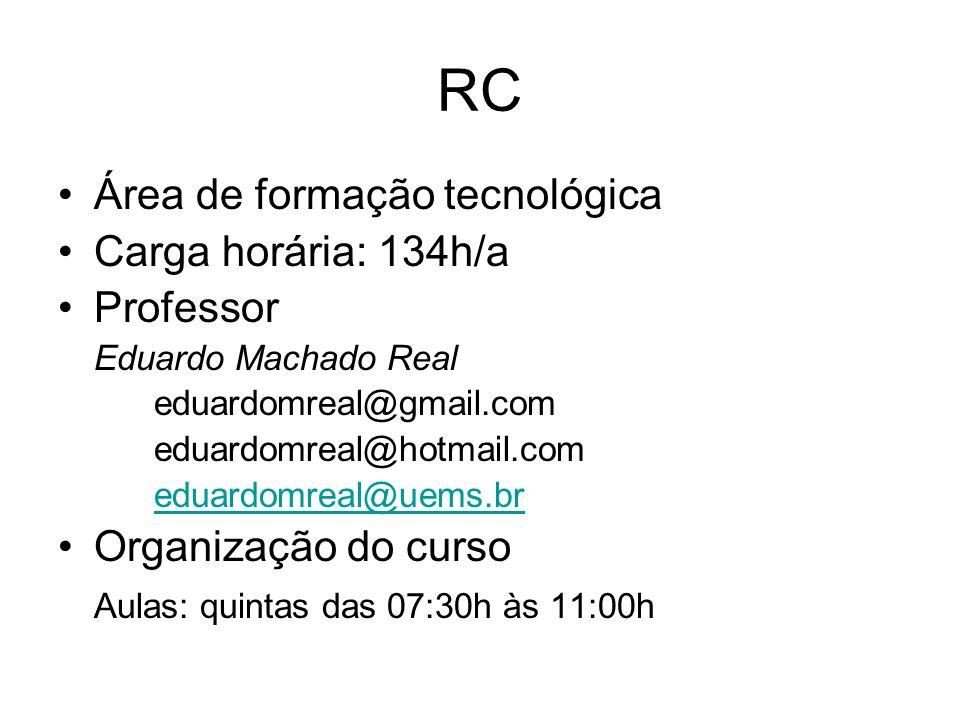 RC Área de formação tecnológica Carga horária: 134h/a Professor