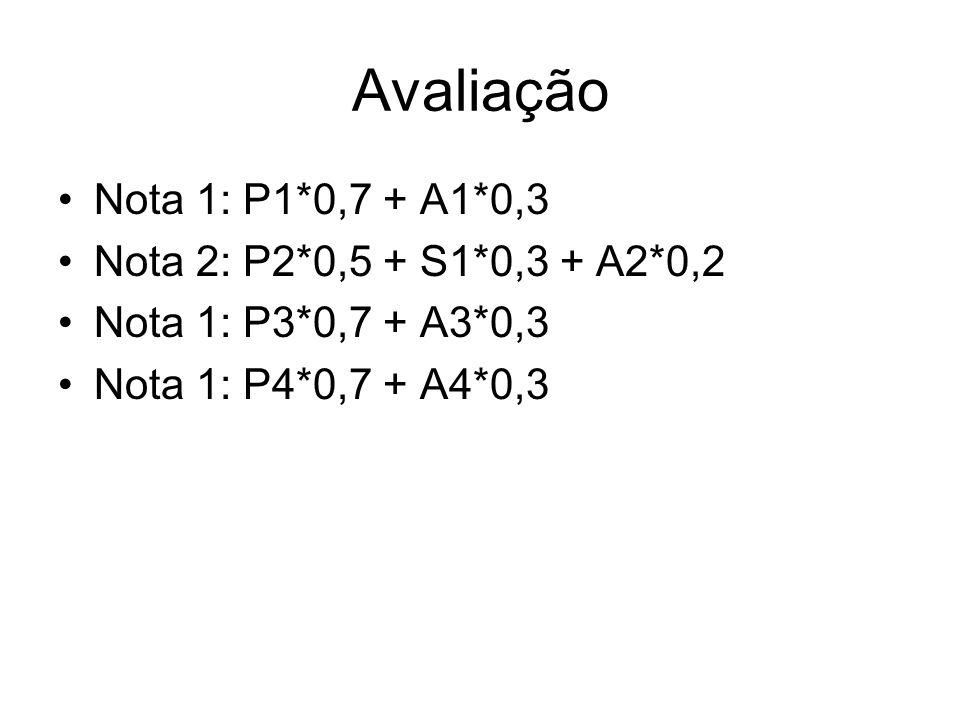 Avaliação Nota 1: P1*0,7 + A1*0,3 Nota 2: P2*0,5 + S1*0,3 + A2*0,2
