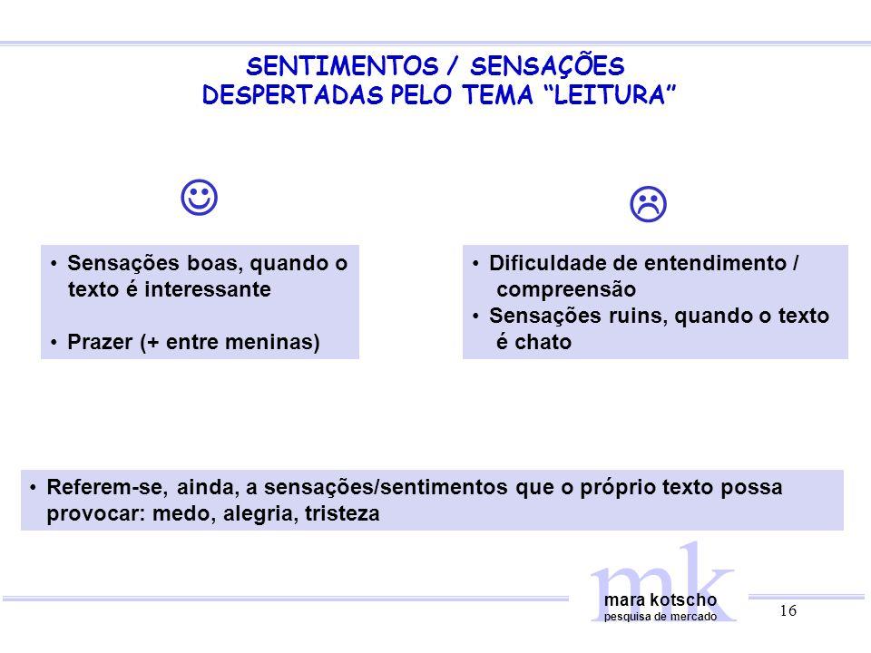 SENTIMENTOS / SENSAÇÕES DESPERTADAS PELO TEMA LEITURA