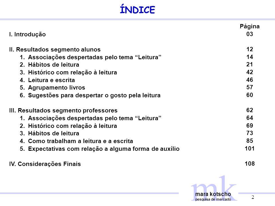 mk ÍNDICE Página I. Introdução 03 II. Resultados segmento alunos 12