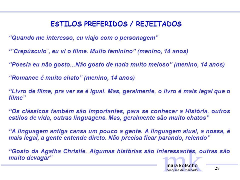 ESTILOS PREFERIDOS / REJEITADOS
