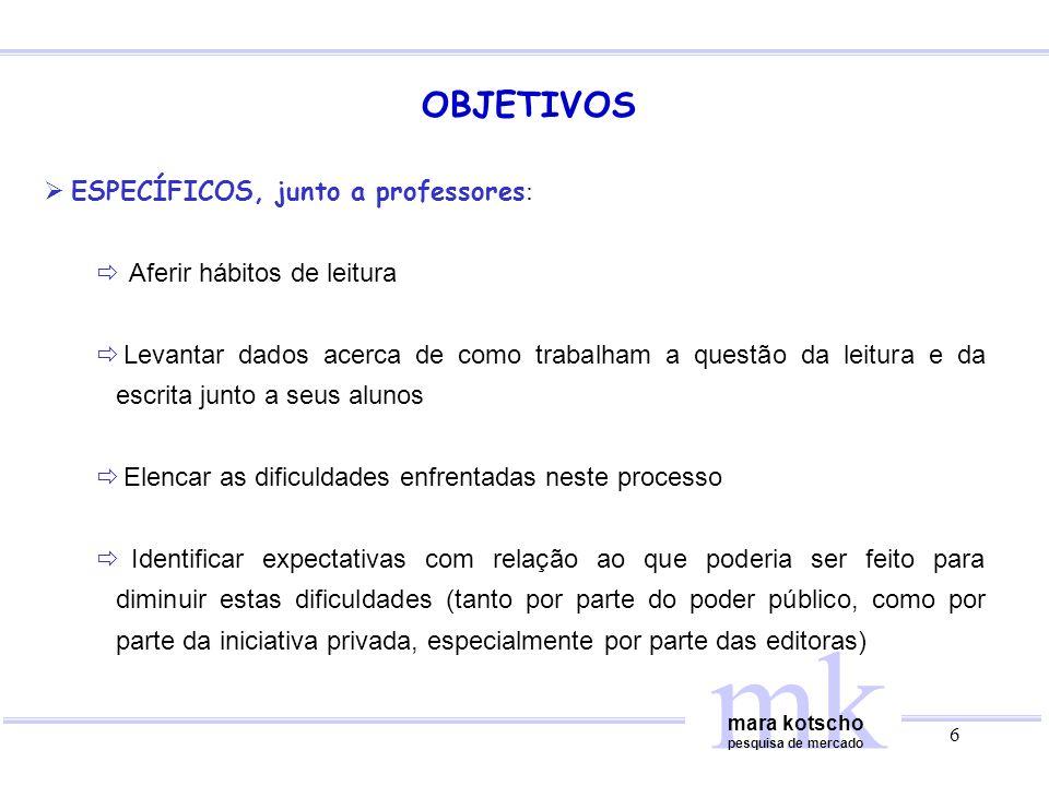 mk OBJETIVOS ESPECÍFICOS, junto a professores: