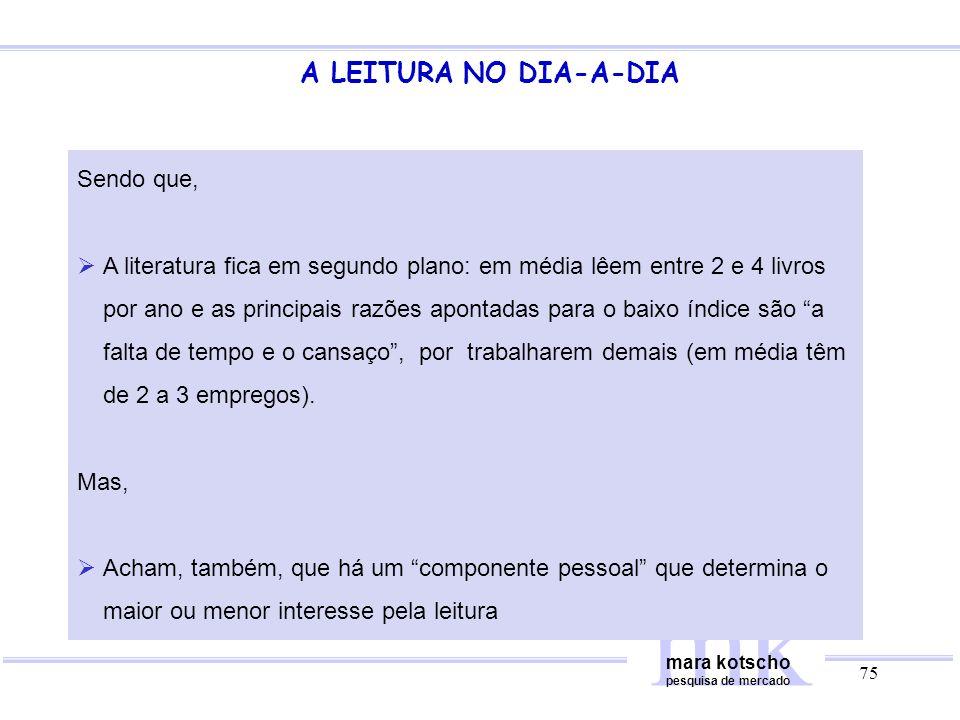 mk A LEITURA NO DIA-A-DIA Sendo que,