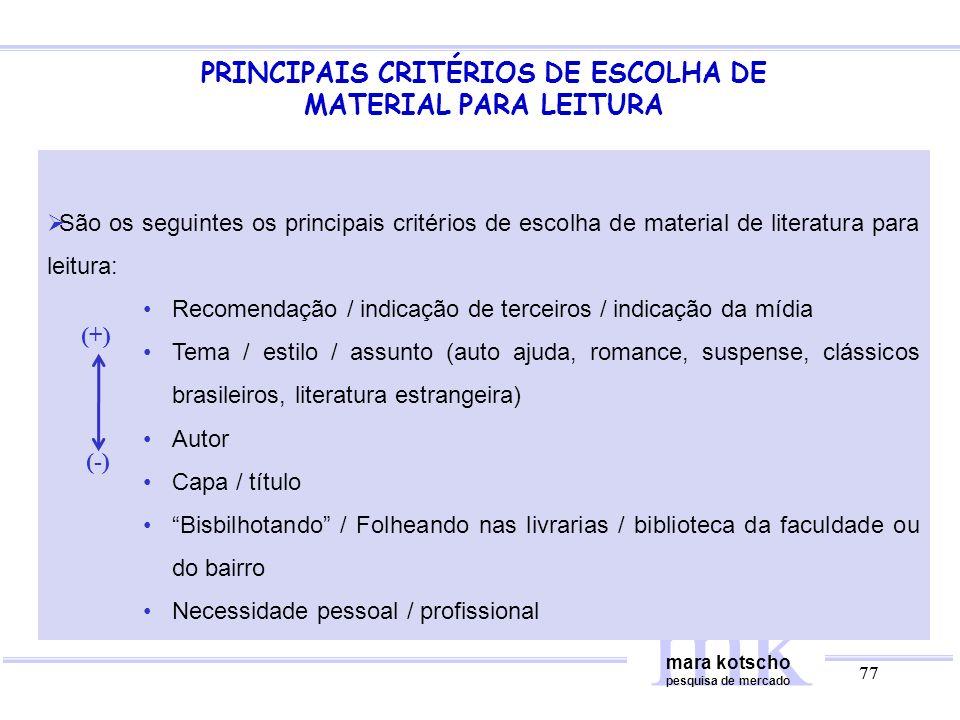 PRINCIPAIS CRITÉRIOS DE ESCOLHA DE