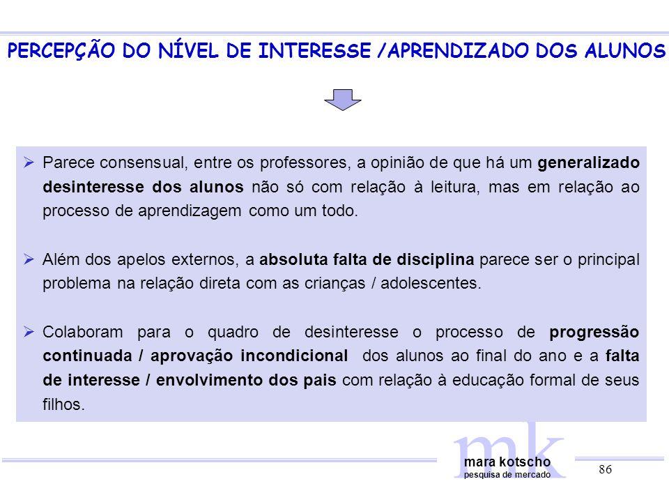 PERCEPÇÃO DO NÍVEL DE INTERESSE /APRENDIZADO DOS ALUNOS