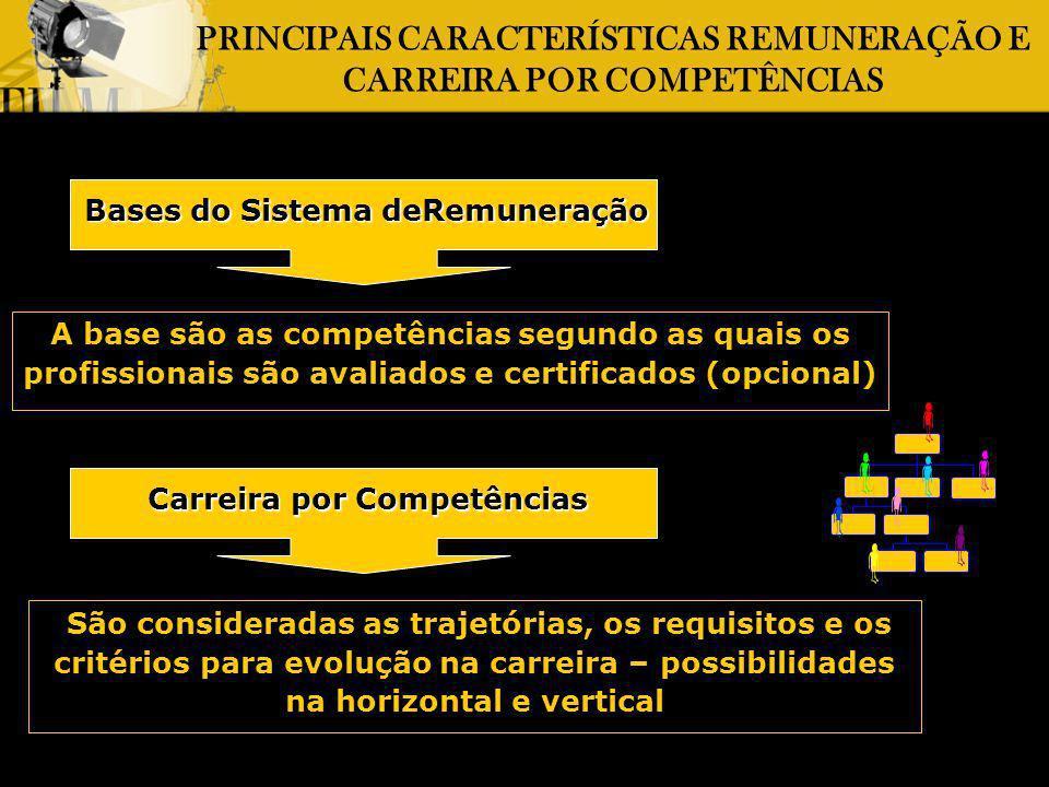 PRINCIPAIS CARACTERÍSTICAS REMUNERAÇÃO E CARREIRA POR COMPETÊNCIAS