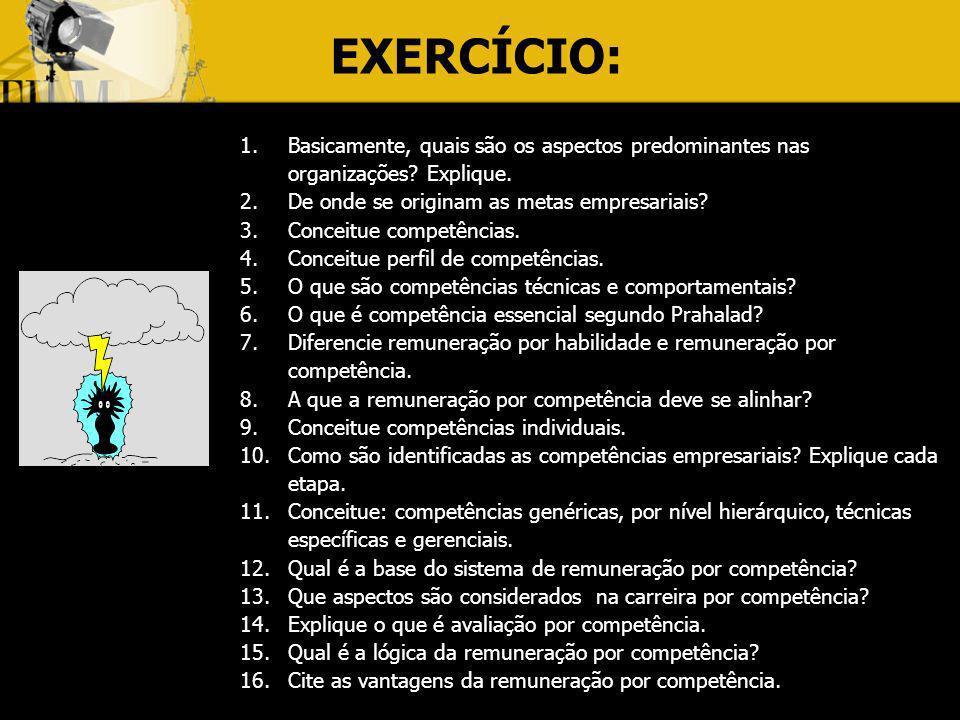 EXERCÍCIO: Basicamente, quais são os aspectos predominantes nas organizações Explique. De onde se originam as metas empresariais