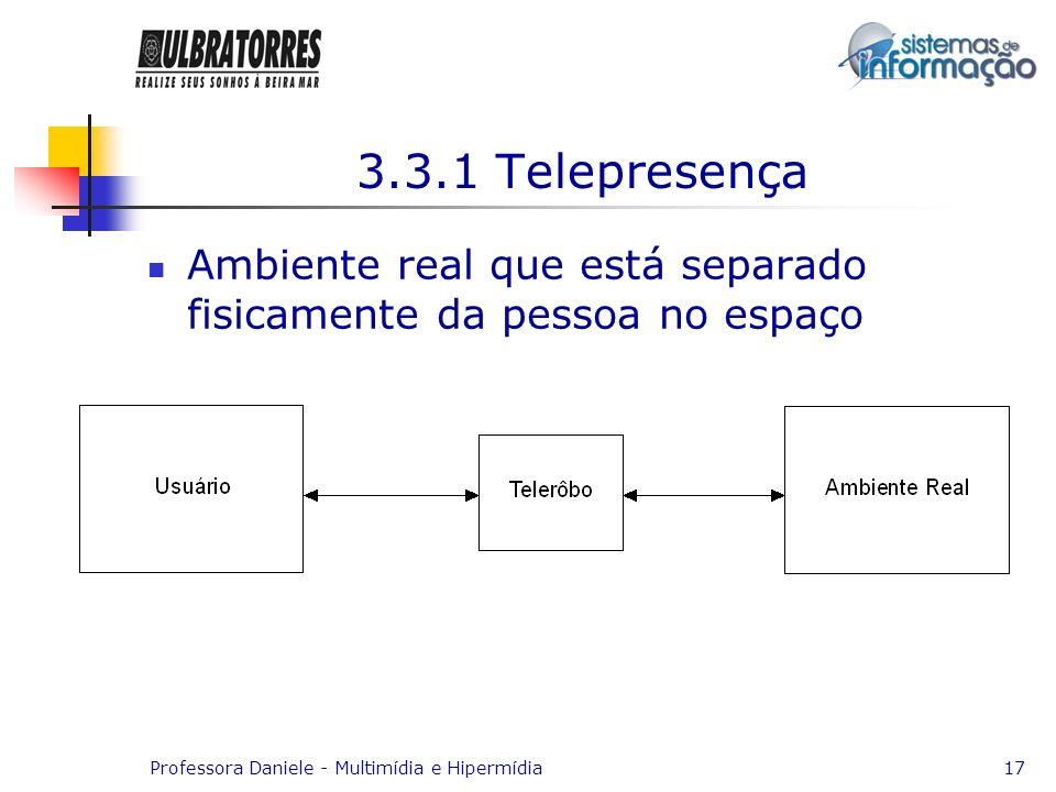 3.3.1 TelepresençaAmbiente real que está separado fisicamente da pessoa no espaço.