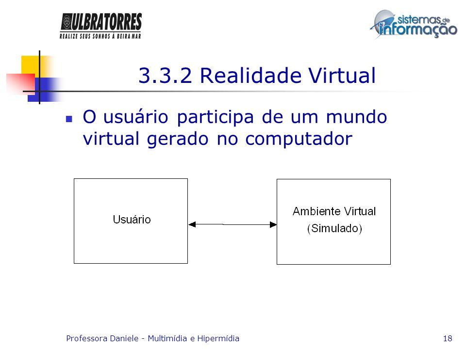 3.3.2 Realidade Virtual O usuário participa de um mundo virtual gerado no computador.