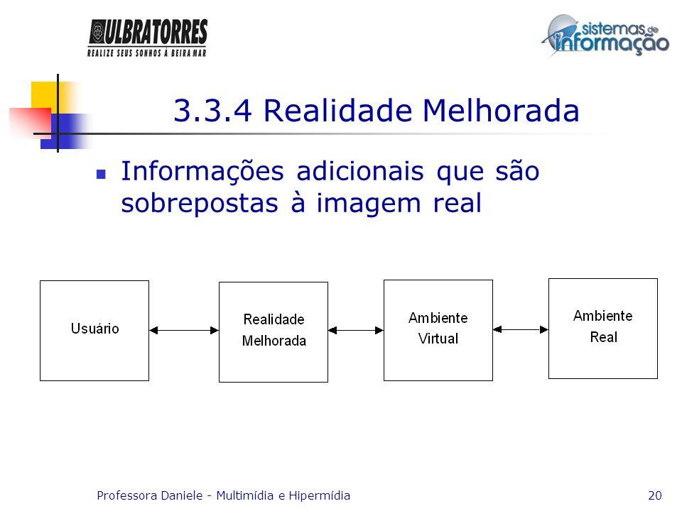 3.3.4 Realidade Melhorada Informações adicionais que são sobrepostas à imagem real.